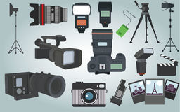 Photographer camera equipment. Colletion of  Photographer camera equipment with isolated objects Royalty Free Stock Photo