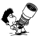 Photographer and camera. Photographer with a large and heavy camera Vector Illustration