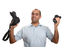 Photographer with Camera and Lens. Photographer on white background Stock Photography