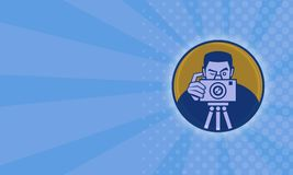 Photographer With Camera Retro. Illustration of a photographer shooting dslr camera front view set inside circle done in retro style business card format Stock Photo