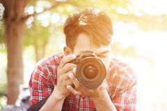 Photographer With Cameras. Close up shot of Photographer with cameras Royalty Free Stock Photography