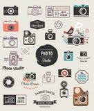 Photographer, cameras, photo studio elements, icons set. Photographer, cameras, photo studio elements icons collection Stock Photo