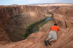 Photographer on Canyon Edge Stock Photo