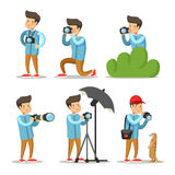 Photographer Cartoon Character Set Royalty Free Stock Photography