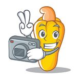 Photographer cashew mascot cartoon style. Vector illustration Stock Image
