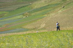 Photographer in Castelluccio Royalty Free Stock Images