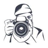 Photographer, charcoal drawing, vector Stock Photos