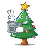 Photographer Christmas tree character cartoon. Vector illustration Stock Images