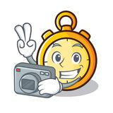 Photographer chronometer character cartoon style Royalty Free Stock Photos