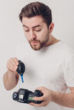 Photographer cleaning camera with vacuum pump. hand blower dust Royalty Free Stock Photography