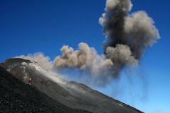 Photographer close to volcano etna Royalty Free Stock Photography
