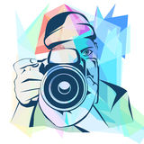 Photographer colored background, vector illustration Stock Image