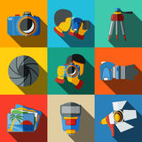 Photographer colorful flat icons set on bright. Squares, with - shutter, camera, photos, shooting photographers, flash, tripod, spotlight. Vector illustration Stock Images