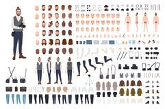 Photographer constructor set or DIY kit. Collection of male cartoon character body parts, facial expressions, clothes. Digital and film photo cameras isolated stock illustration