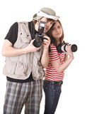 Photographer couple with digital camera. Royalty Free Stock Images