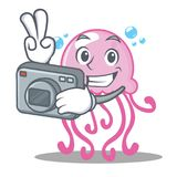 Photographer cute jellyfish character cartoon Royalty Free Stock Photography