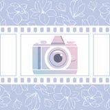 Photographer design element for logotype, label, badge and other. Magnolia flowers,retro photocamera and film in trendy colors. Ve. Ctor illustration Royalty Free Stock Image