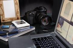 Photographer desk Royalty Free Stock Photos