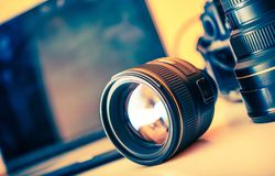 Photographer Desk Lenses Royalty Free Stock Image