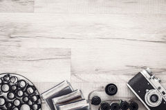 Free Photographer Desk With Vintage Camera And Rolls Of Film. Flat Lay With Copy Space. Stock Images - 76816184
