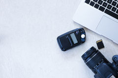 Photographer desktop Royalty Free Stock Images