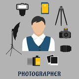 Photographer and devices flat icons Royalty Free Stock Image