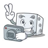 Photographer dice character cartoon style. Vector illustration Royalty Free Stock Photo