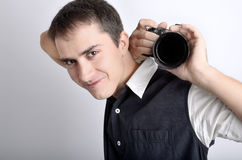 Photographer with digital camera Royalty Free Stock Photo