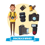 Photographer with digital camera cartoon icon. Photographer profession cartoon icon. Young man with digital camera and professional photo equipment such as lens Stock Image