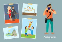 Photographer with Digital Camera Taking Photo stock illustration