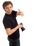 Photographer with digital camera, thumb up Royalty Free Stock Image