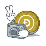 Photographer Dogecoin mascot cartoon style. Vector illustration Stock Photos