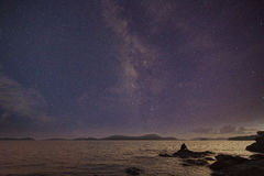 Photographer doing astro photography on the rocks of nightscape Royalty Free Stock Photo
