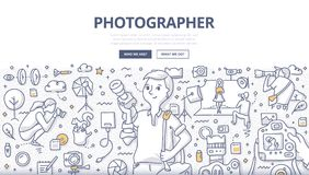 Photographer Doodle Concept. Doodle vector illustration of а professional photographer with camera. Studio, event, travel photographer at work. Photography stock illustration