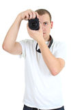 Photographer with dslr camera Stock Images