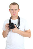Photographer with dslr camera isolated over white Stock Photography