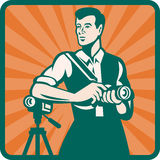 Photographer With DSLR Camera and Video Retro. Illustration of a male photographer with DSLR camera and video cam done in retro style Stock Image