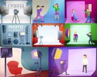 Photographer equipment banner set, cartoon style vector illustration