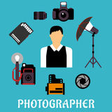 Photographer with equipment and items Royalty Free Stock Images