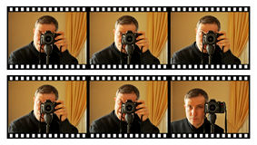 Photographer and facial expressions Royalty Free Stock Photos