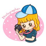 Photographer_female_vector_2 stock illustrationer