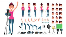 Photographer Female Vector. Animated Woman Creation Set. Full Length, Front, Side, Back View. Isolated Flat Cartoon Stock Photos