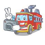 Photographer fire truck mascot cartoon. Vector illustration Stock Photo