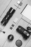 Photographer flat lay BW. Photographer flat lay Black and White Stock Images