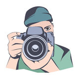 Photographer, flat pattern, vector illustration Royalty Free Stock Photos