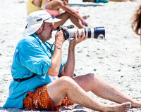 Photographer on Folly Beach, Charleston, SC Royalty Free Stock Photos