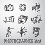 Photographer freehand icons set with - shutter. Camera and photos, shooting photographers, flash, tripod, spotlight. Vector illustration Stock Images