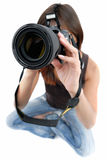 Photographer girl. Photo shoting .... girl with photo by camera on white background Royalty Free Stock Image