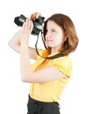 Photographer girl with camera Royalty Free Stock Image
