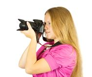 Photographer girl with camera Royalty Free Stock Photography